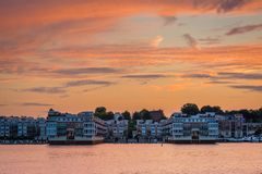 Sunset over the Inner Harbor in Baltimore, Maryland.  stock images