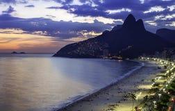 Sunset over Ipanema Beach in Rio de Janeiro Stock Photos