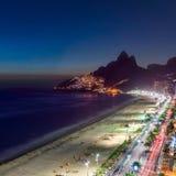Sunset over Ipanema Beach in Rio de Janeiro, Brazil Stock Image