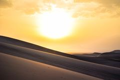 Sunset over Iranian desert 2017 stock photos