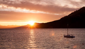 Sunset over an island hill near Victoria, BC Royalty Free Stock Image