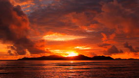 Sunset over  island. Tropical sunset over the islands, Seychelles stock video