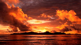 Sunset over  island. Tropical sunset over the islands, Seychelles stock footage