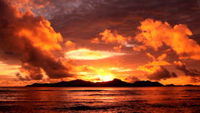 Sunset over  island. Tropical sunset over the islands, Seychelles stock video footage