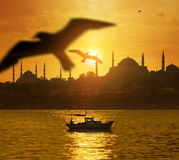 Sunset over Istanbul Silhouette Royalty Free Stock Images