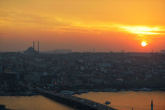 Sunset over Istanbul, Turkey Royalty Free Stock Images