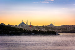 Sunset over Istanbul, Turkey Royalty Free Stock Photos