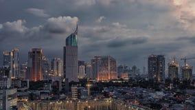 Jakarta city capital of Indonesia. Sunset over Jakarta city downtown stock photography