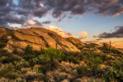 Sunset over Javelina Rocks in Saguaro National Park, Arizona. Sunset over Javelina Rocks in Saguaro National Park East near Tucson, Arizona Royalty Free Stock Images