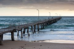 Sunset over the Jetty at Port Noarlunga South Australia on 12th. September 2018 royalty free stock photo
