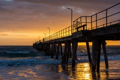 Sunset over the Jetty at Port Noarlunga South Australia on 12th. September 2018 stock photos