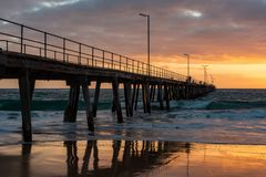 Sunset over the Jetty at Port Noarlunga South Australia on 12th. September 2018 stock photo