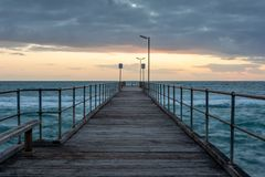 Sunset over the Jetty at Port Noarlunga South Australia on 12th. September 2018 royalty free stock photography
