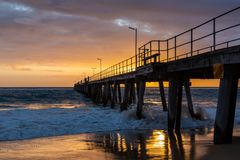 Sunset over the Jetty at Port Noarlunga South Australia on 12th. September 2018 royalty free stock image