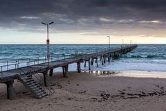 Sunset over the Jetty at Port Noarlunga South Australia on 12th. September 2018 stock photography
