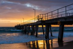 Sunset over the Jetty at Port Noarlunga South Australia on 12th Stock Photos