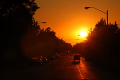 Sunset over John Street. Sunset at Mattis and John royalty free stock photo