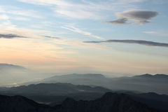 Sunset over the Julian Alps in Slovenia. Stock Image