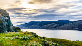 Sunset over Kamloops Lake along the Trans Canada Highway. In British Columbia, Canada stock photos