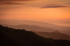 Sunset over Kartepe, Kocaeli, Turkey. Layers and atmosphere. Beautiful sunset in the Kartepe mountains landscape near the sea of Marmara, Turkey stock image