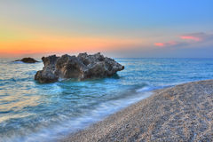 Sunset over Kathisma beach, Lefkada - Greece. Sunset over Kathisma beach (Lefkada island-Greece). The most impressive beaches from Lefkada are Porto Katsiki royalty free stock photos