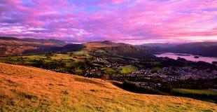 Sunset over Keswick. Pink sunset skies over Keswick Royalty Free Stock Images