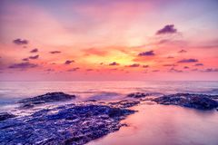 Sunset over Khao Lak beach Royalty Free Stock Photography