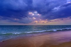 Sunset over Khao Lak beach Royalty Free Stock Image