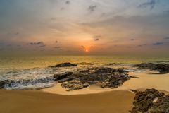 Sunset over Khao Lak beach Royalty Free Stock Photography