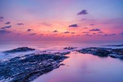Sunset over Khao Lak beach Stock Photos