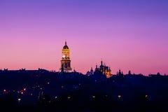 Sunset over Kiev city skyline Stock Photography