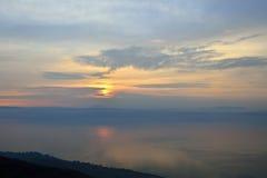 Sunset over Kinneret lake, Israel. Stock Photo