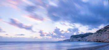 Sunset over Kourion. Mediterranean sea. Cyprus Royalty Free Stock Photos