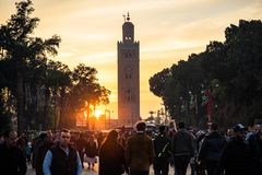 Sunset over Koutoubia Mosque,Morocco stock images