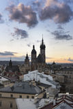 Sunset over Krakow in Poland Stock Photography