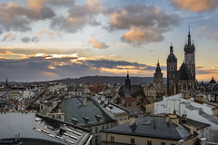 Sunset over Krakow in Poland Royalty Free Stock Image