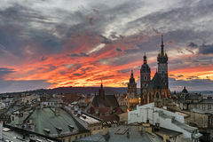 Sunset over Krakow in Poland. Dramatic sunset over historic town Krakow in Poland royalty free stock images