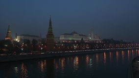 Sunset over the Kremlin stock video footage