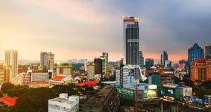 Sunset over Kuala Lumpur skyscrapers in Malaysia Stock Photos