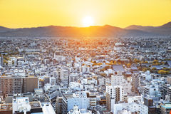 Sunset over Kyoto City in Japan. Stock Photos