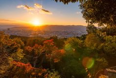 Sunset Over Kyoto With A Red Mapple