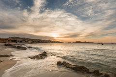 Sunset over L`Ile Rousse in Balagne region of Corsica Royalty Free Stock Images