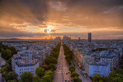 Sunset over La Defense, Paris Stock Photography