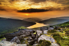 Sunset over Ladybower Reservoir Stock Image