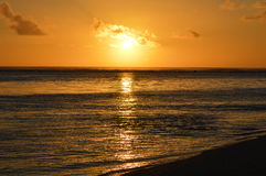 Sunset over lagoon. A sunset over the reef lagoon on Rarotonga.  Photo taken January 2014 Stock Image