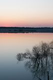 Sunset over lake. And forest Royalty Free Stock Photos