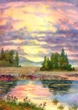 Sunset over lake. Watercolor landscape. The glow of the sunset over a calm lake Stock Images