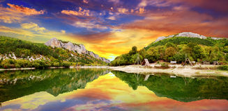 Sunset over the  lake Stock Photography