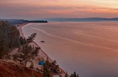Sunset over Lake Baikal Royalty Free Stock Photography