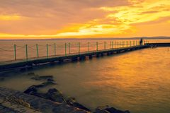 Sunset over the lake Balaton, Hungary Royalty Free Stock Photography